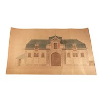 19th Century French Architectural Drawing of a Stable