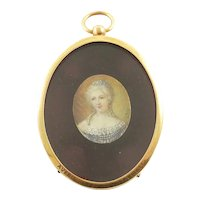 Antique French Miniature Portrait of a Lady,  19th Century, Oval Gilt Frame