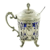 Antique French Sterling Silver Mustard Pot with Cobalt Liner & Spoon,  Edmond Tetard