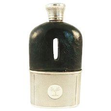 Antique English Sterling Silver Leather Hip Flask, Removable Cup, Family Crest