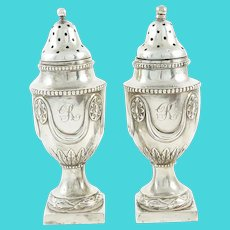 Antique Sterling Silver English Pepperettes, Castor or Shakers, A Pair