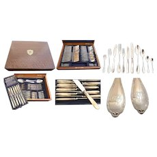 Antique French Sterling Silver Flatware Service for Twelve, 130 Pieces, Mother of Pearl Knives