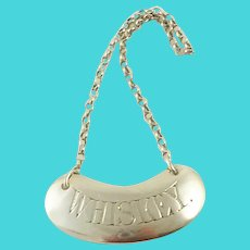 "English Edwardian Sterling Silver Bottle Tag for "" Whiskey"""