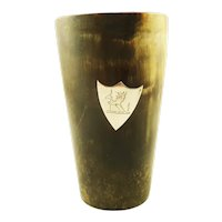 Antique Horn and Silver Beaker Cup with Amorial/Crest
