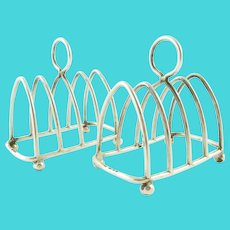 Pair of English Sterling Silver Toast Racks,  George V