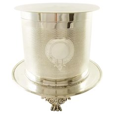 Antique English Silver Plate Biscuit Box, Barrel with Crest or Armorial