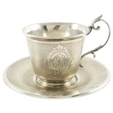 Antique French Sterling Silver Cup & Saucer, Demitasse
