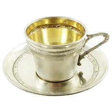 Antique French Sterling Silver and Gilt Cup & Saucer