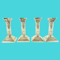 Antique Corinthian Column Candlesticks or Candle Holders, Set of Four by Mappin & Web