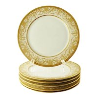 Antique Porcelain Service or Under-Plates, Thick Gold Encrusted Raised Work