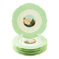 Five Old Paris Style Porcelain Cabinet Plates, Hand- Painted Landscape Scenes