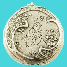 Antique  French Silver Patch Box with Mirror, Locket Style