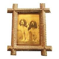 Vintage Print of Two Spaniels in Tramp Art Frame