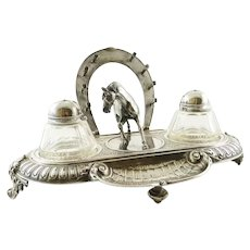 Antique Novelty Silver Equestrian Double Inkwell, C1900, Horse, Horseshoe Pen Holder, Jockey Caps