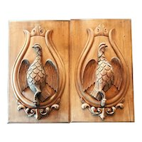 Antique Pair Carved Wood Panels or Plaques with Sporting Theme