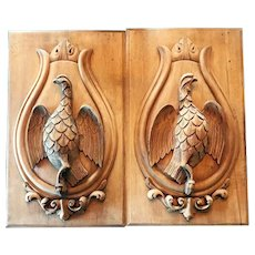 Antique Pair Carved Wood Panels with Sporting Theme