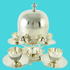 Antique Mappin & Webb Silver Egg Coddler and Server for Four