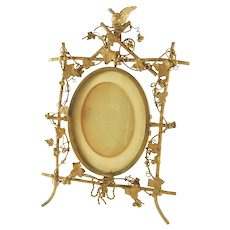Antique French Gilt Bronze Picture Frame, Featuring Grapevines