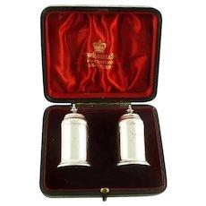 Antique English Sterling Silver Salt Pepper Set, Presentation Box