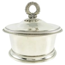 Antique French Silver 18th C Butter Dish or Butter Tub, Vermeil Gilt Interior