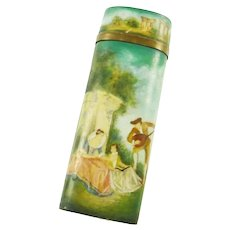 19th Century French Hand Painted Etui with Romantic Scenes