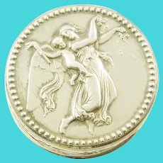 French Silver and Gilt Box, Pill or Trinket, Putto with Torch and Arrow
