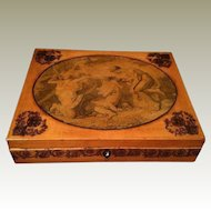 Georgian Box with Transfer Decoration & Pen Work Allegorical Scene Robin's Egg Blue Interior