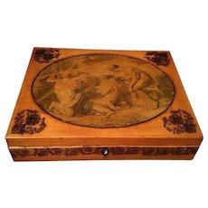 Georgian Box with Transfer Decoration & Pen Work Allegorical Scene Robin's Egg Blue Interior