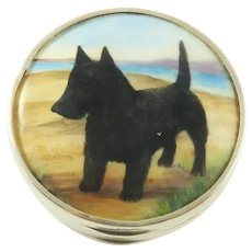 Vintage English Sterling Silver Pill Box with Gilt & Enamel Dog