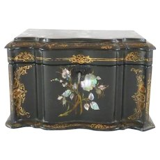 Antique Papier Mache Tea Caddy / Mother of Pearl Abalone Inlay / Bird & Floral C. 1850
