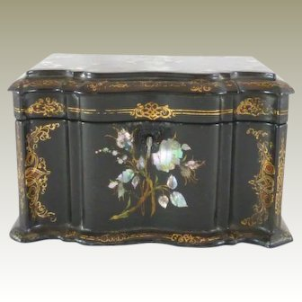 Antique Papier Mache Tea Caddy Mother of Pearl Abalone Inlay C. 1850