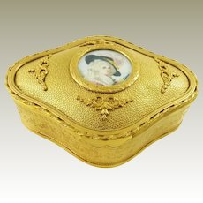 Antique French Bronze Dresser Box or Jewelry Casket with Signed Miniature Portrait