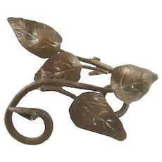 Antique Bronze Drapery or Curtain Tiebacks, Leaf & Vine Motif