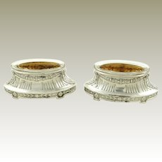 Antique French Sterling Silver Salt Cellars Pair with Vermeil Interiors Crystal Liners