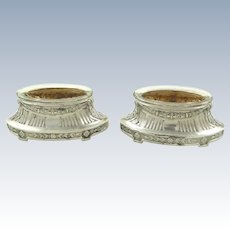 French Sterling Silver Salt Cellars a Pair with Vermeil Interiors C 1900