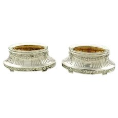 Antique French Sterling Silver Salt Cellars, A  Pair with Crystal Liners & Vermeil Interiors C 1900