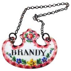 Antique Wine Label Bottle Ticket Enamel for Brandy