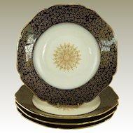Antique Limoges Rimmed Soup Bowls Cobalt and Gold Haviland & Co Set of Four Gilt Medallion