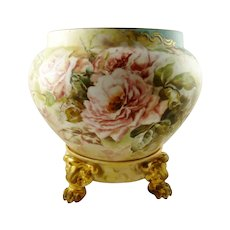 Limoges Jardiniere Vase Planter & Stand Hand Painted with Roses