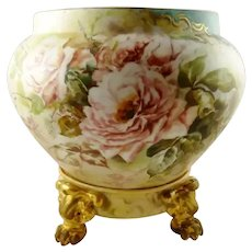 Limoges Jardiniere Vase Planter & Stand , Hand Painted with Roses,  French Porcelain William Guerin Co