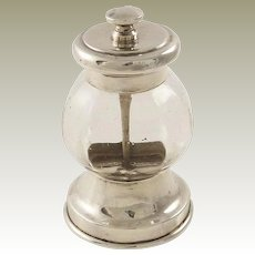 Antique Sterling Silver Pepper Grinder Pepper Mill  English Hallmarked for Birmingham 1908