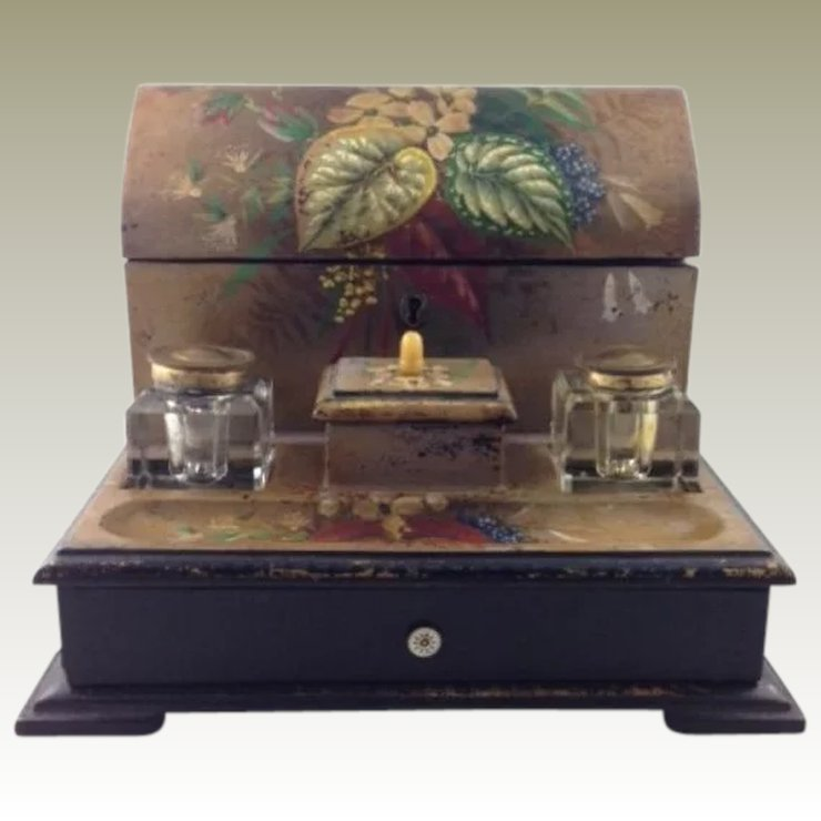 Antique Papier Mache Desk Set Letter Box Inkwell Inkpot Late 19th C Five Writing