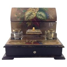 Antique Papier Mache Desk Set Letter Box Inkwell / Inkpot Late 19th C/ Five Writing Accessories