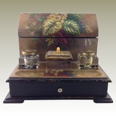 Antique Papier Mache Desk Set Letter Box Ink Wells Late 19th C.