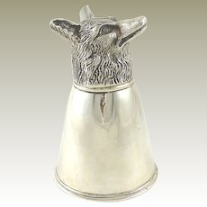 Gucci Silver Stirrup Cup Fox Head Equestrian Fox Hunting Interest 4 Available