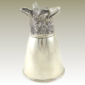 Gucci Silver Stirrup Cup Fox Head Equestrian Fox Hunting Interest