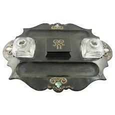 Antique Double Inkwell / Inkpot Set Papier Mache Jennens & Bettridge