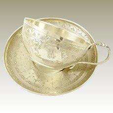 Antique French Sterling Silver Coffee Tea Cup & Saucer or Chocolate / Boivin Paris  / Tasse à Café Soucoupe