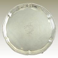 Antique Georgian  Sterling Silver Card Tray Salver London 1774
