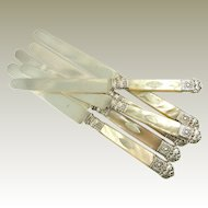 Antique French Silver & Mother of Pearl Knives, Vieillard Mark